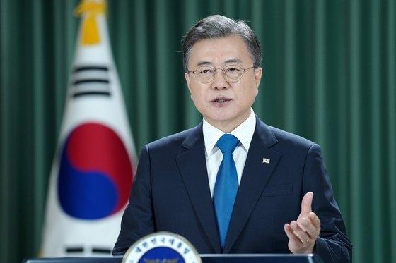 韓国の文在寅大統領の第75次国連総会一般討論演説の様子。[写真 青瓦台]