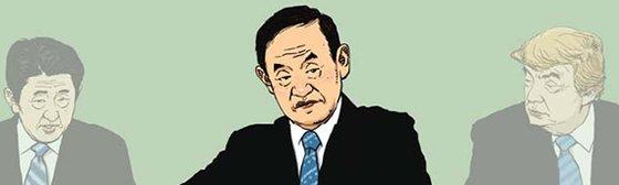 安倍晋三前首相、菅義偉首相、ドナルド・トランプ大統領