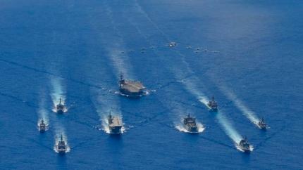 7月21日(現地時間)にフィリピン海で行われた米国-豪州-日本の連合海上訓練。 [写真=米海軍]