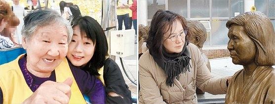 (右の写真)旧日本軍慰安婦被害者の吉元玉(キル・ウォノク)さん(92)と対話する尹美香(ユン・ミヒャン)元挺対協常任代表。(左の写真)京畿道広州(キョンギド・クァンジュ)ナヌムの家に設置されたペ・チュンヒさん(2014年死去)の胸像を見つめる朴裕河(パク・ユハ)世宗(セジョン)大学教授。尹氏は詐欺横領背任など8つの容疑で起訴され、朴氏は告発されて大法院の判決を待っている。[写真 尹美香氏のフェイスブック キャプチャー]、チャン・セジョン記者