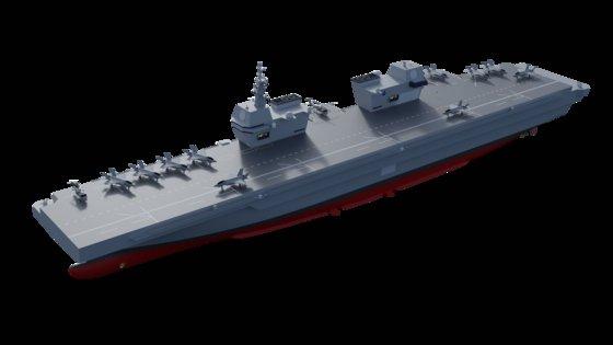 海軍が建造する計画の韓国型軽空母。英国の空母「クイーン・エリザベス」のように艦橋は2つあり、米国の強襲揚陸艦「アメリカ」のように甲板は平たい。 韓国海軍