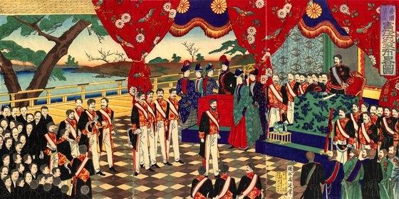 明治憲法発布式。この儀式により日本の天皇は名実ともに国家元首となった。[中央フォト]