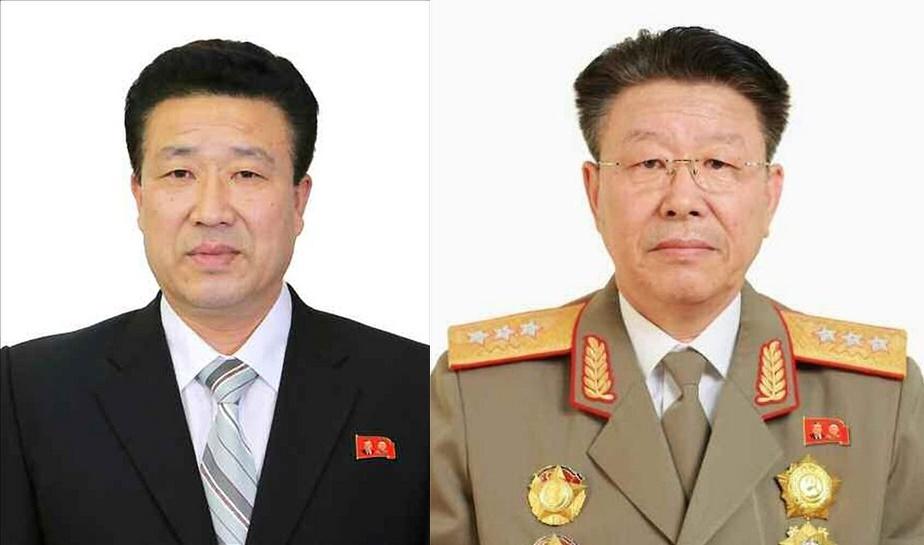 鄭京擇(チョン・ギョンテク)国家保衛相(左)、李永吉(イ・ヨンギル)社会安全相