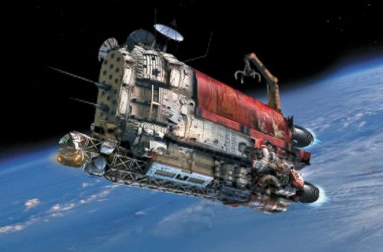 2月に上映された韓国初の宇宙SF映画『スペース・スウィーパーズ』に登場した掃除船のコンセプトアート。[写真 ネットフリックス]