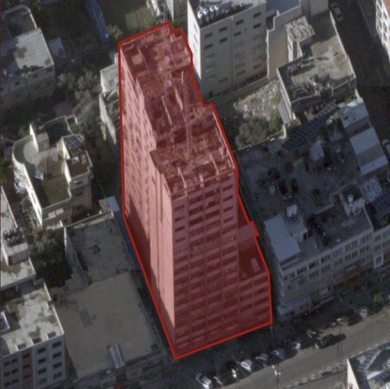 イスラエル軍が破壊したハマスが使っているガザ地区の14階建物