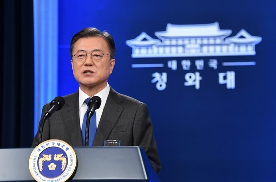 文在寅大統領は10日午前、青瓦台(チョンワデ、韓国大統領府)春秋館で就任4周年特別講演を行い、ことし4%の経済成長率を目標として提示した。[写真 青瓦台写真記者団]