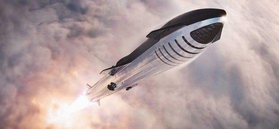 スペースXのロケット旅客機が宇宙に打ち上げられている。前方に帯のように見える部分が乗客が乗る空間。[写真 スペースX]