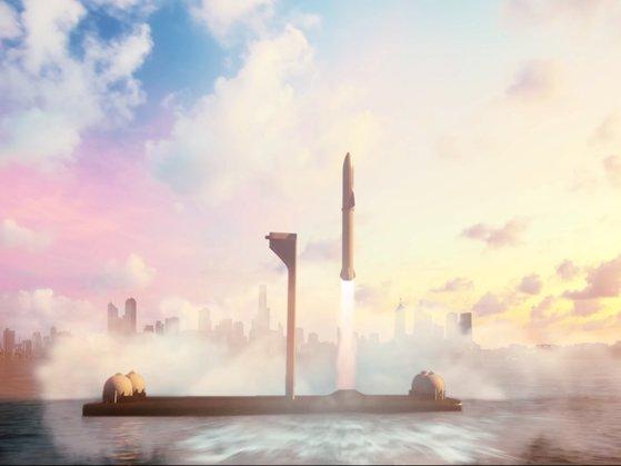 海上打ち上げ場。[写真 スペースX]