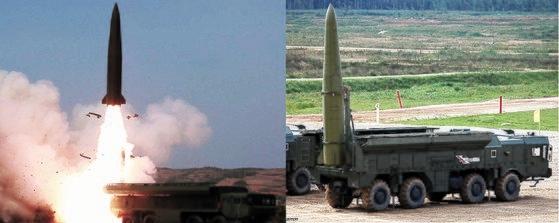 北朝鮮の短距離弾道ミサイル(左)とロシアのイスカンデル移動式短距離弾道ミサイルは外形が非常に似ている。中央フォト