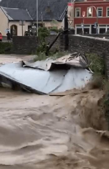 欧州西部の大洪水の様子。