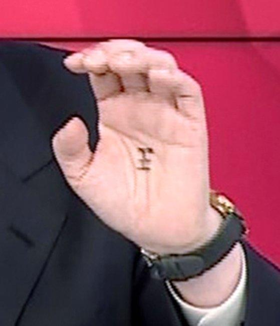 今月1日に行われた最大野党・国民の力の大統領候補テレビ討論会で、尹錫悦(ユン・ソクヨル)前検察総長の手のひらに「王」の字が書かれていた。[中央フォト]