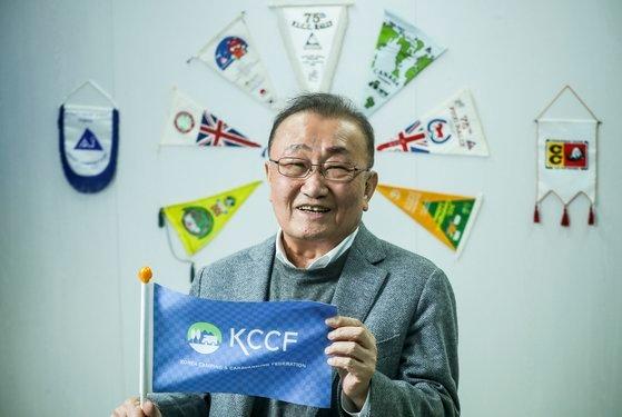 2024年の世界キャンプキャラバーニング大会を韓国に誘致したチャン・ギョンウ韓国キャンプキャラバン連盟総裁。キム・ソンニョン記者